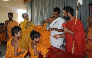 HH Chinna Jeeyar Swamiji Distributing Clothes To Vedic Students